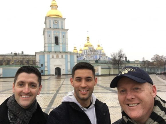 Grosch, Cruz and Professor Dowling in front of Kyiv building