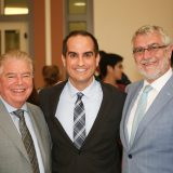 photo of Board of Advisors Chairman Wylie Aitken, Dean Parlow and Chapman University President Daniele Struppa