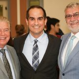 Board of Advisors Chair Wylie Aitken, Dean Matt Parlow and Chapman University President Daniele Struppa