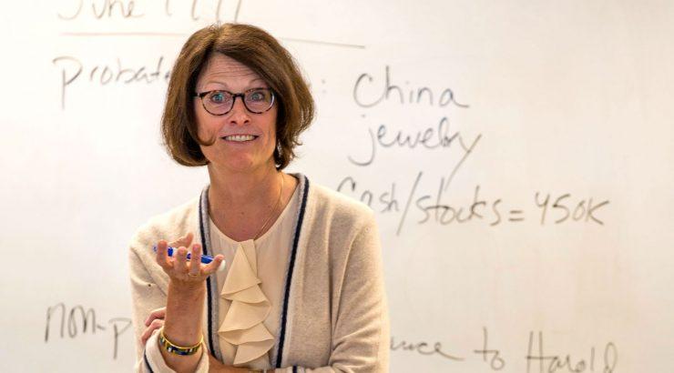 Celestine McConville teaching a law class.