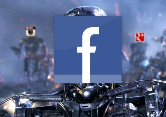Facebook logo on a robot's face