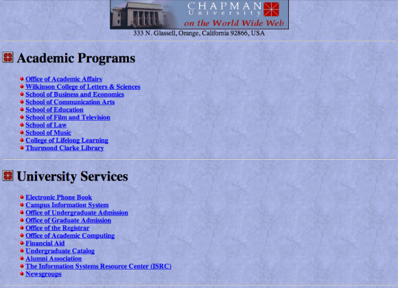 Screen shot of the Chapman website from 1996