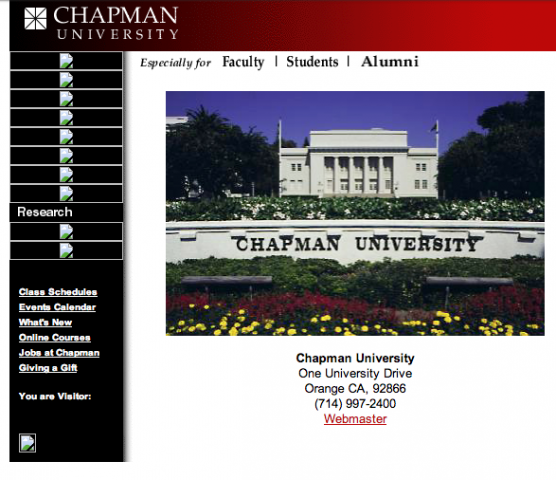 Screen shot of the Chapman website from 2000