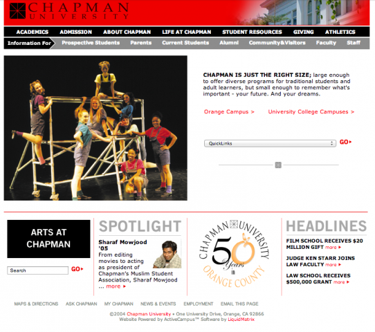 Screen shot of the Chapman website from 2005