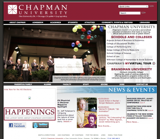 Screen shot of the Chapman website from 2010