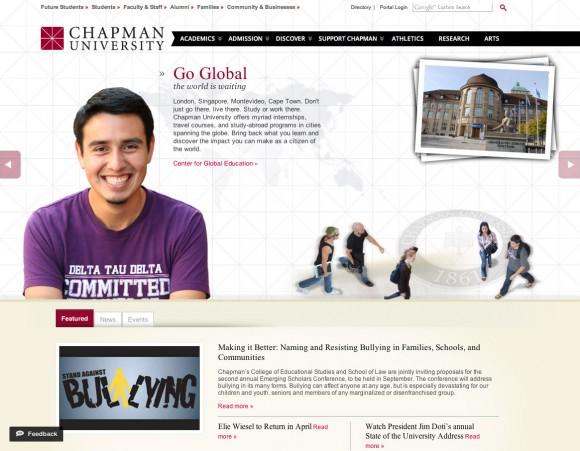 Screen shot of the Chapman website