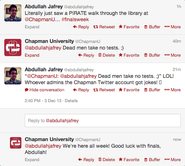 Screen shot of Chapman University's Twitter