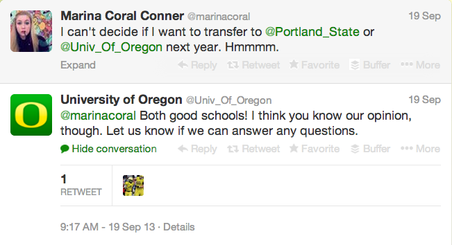 Screen shot of University of Oregon's Twitter