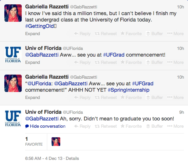 Screen shot of University of Florida's Twitter