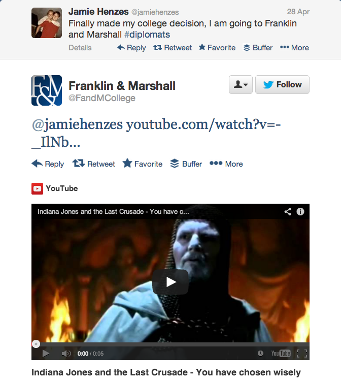 Screen shot of Franklin and Marshall College's Twitter