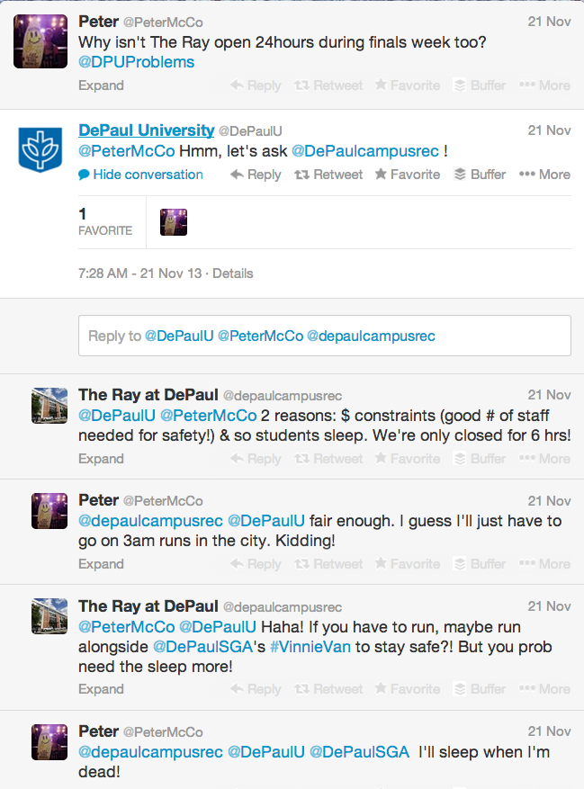 Screen shot of DePaul University's Twitter
