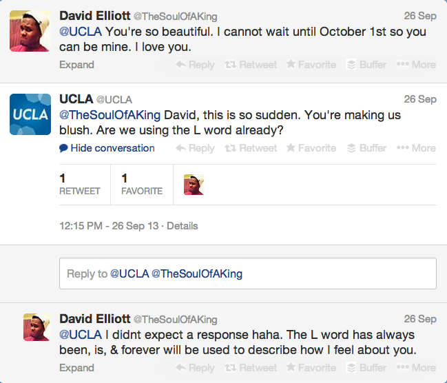 Screen shot of UCLA's Twitter