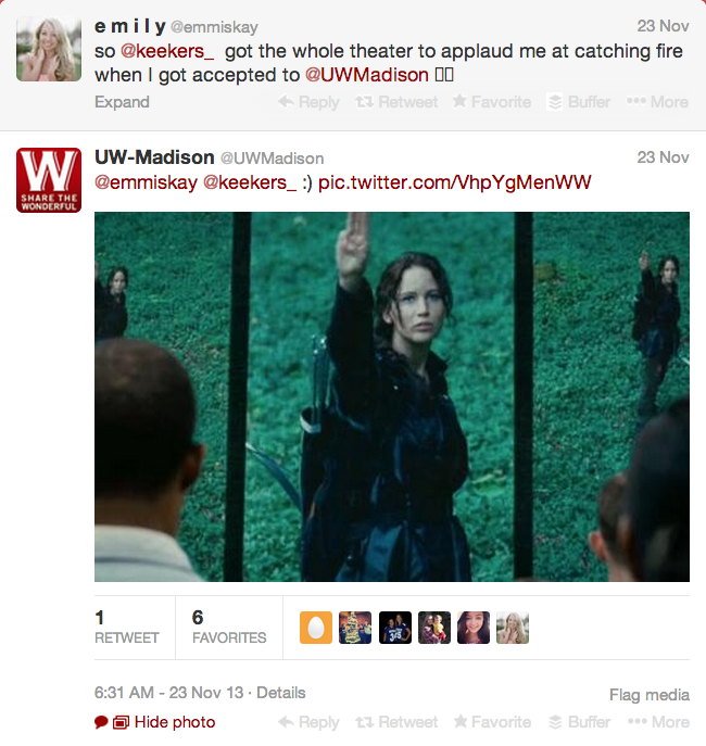 Screen shot of UW Madison's Twitter