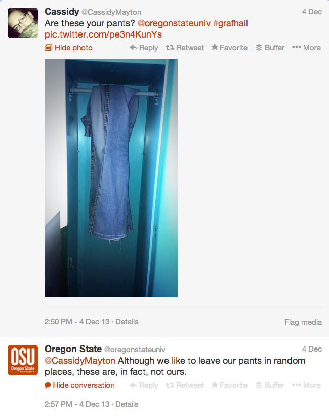 Screen shot of OSU's Twitter