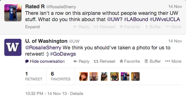 Screen shot of University of Washington's Twitter