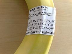 Advertisement on a banana