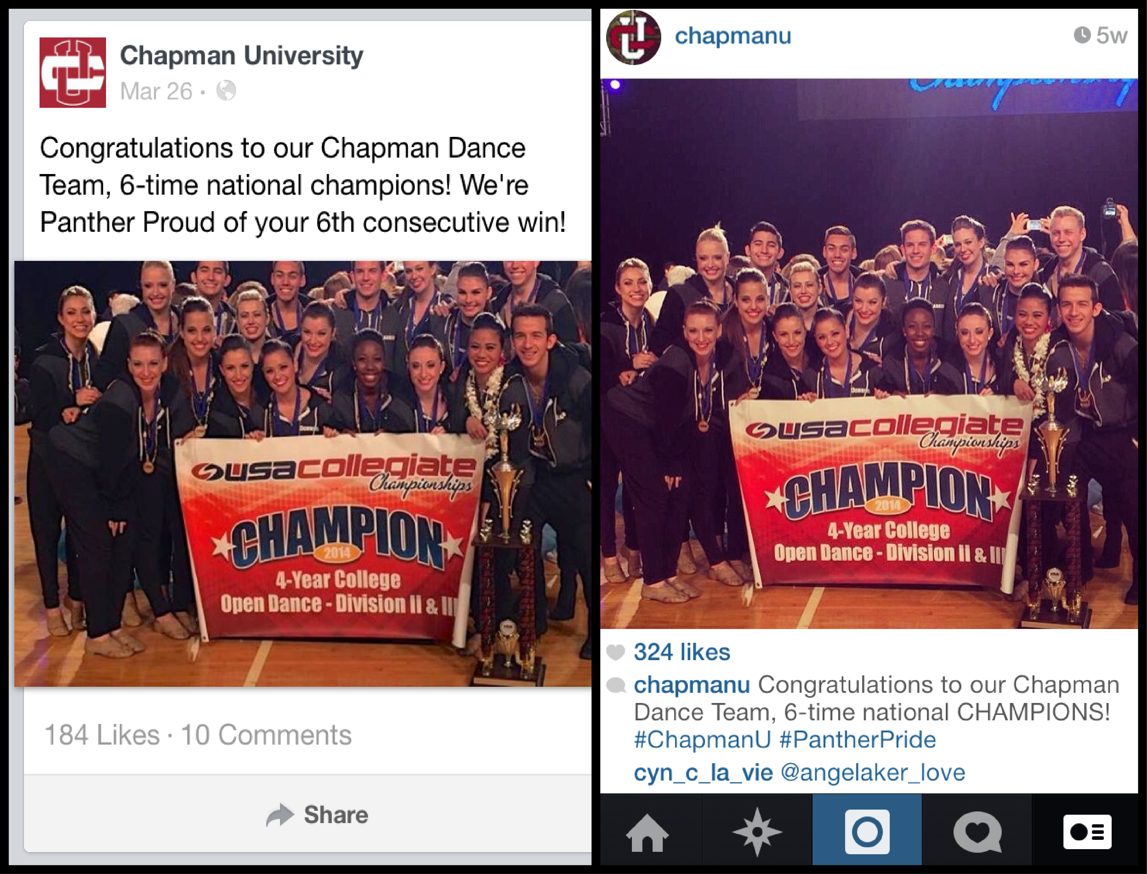 Screen shot of the Chapman Dance Team on Facebook and Instagram
