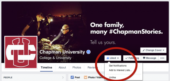 Screen shot of the Chapman FaceBook page