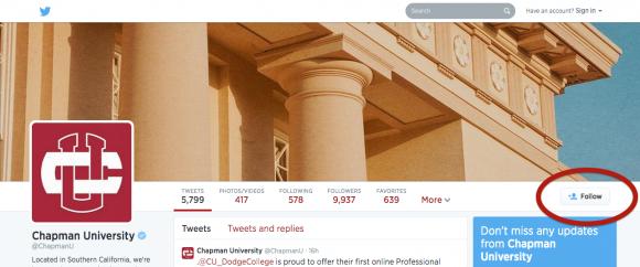 Screen shot of Chapman's Twitter page