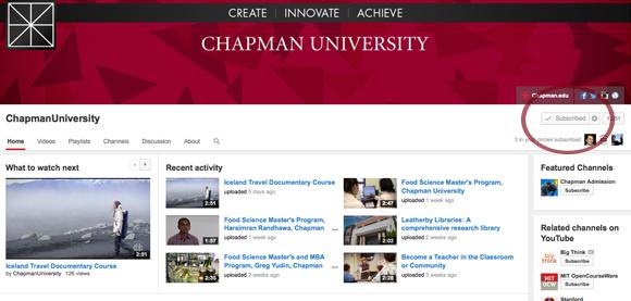 Screen shot of Chapman's YouTube channel account