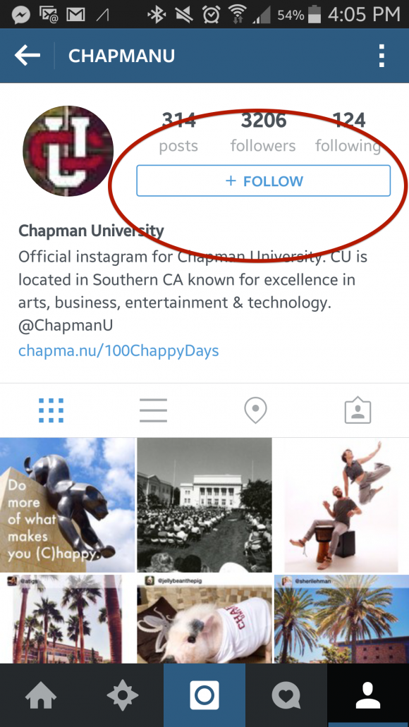 Screen shot of Chapman's Instagram page with a red circle around the follow button