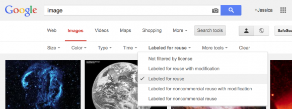 Screen shot of Google image search result with label for reuse drop down menu