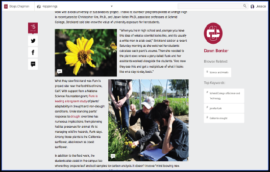 Screen shot of a Chapman University blog post with a images of a yellow flower and two students examining it