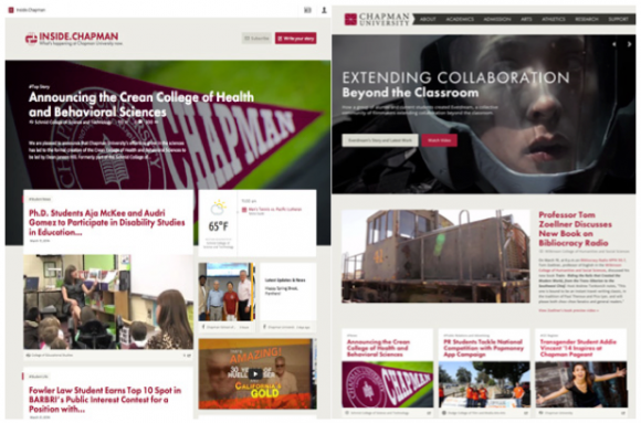 Screen shot of the Chapman Website announcing the Crean College of Health and Behavioral Sciences