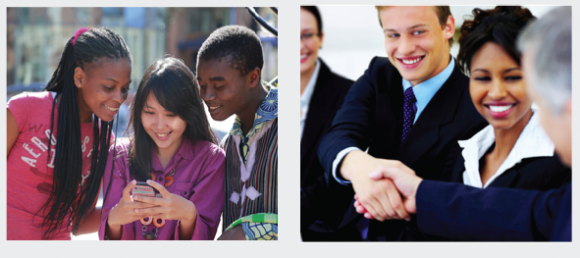 images of young people looking at a cell phone and business people shaking hands