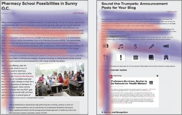 Screen shot of the Pharmacy School blog post on the Chapman University website