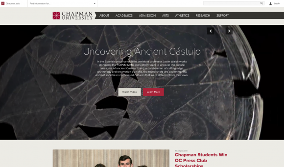 Screen shot Chapman webpage
