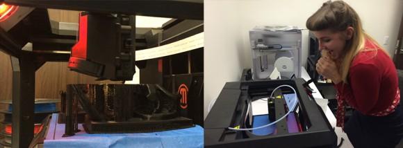 Girl looking at a 3-D printer