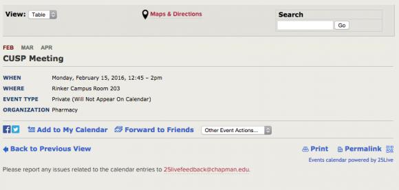 screen shot of CUSP meeting infomation