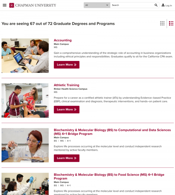 Degrees and Programs list view