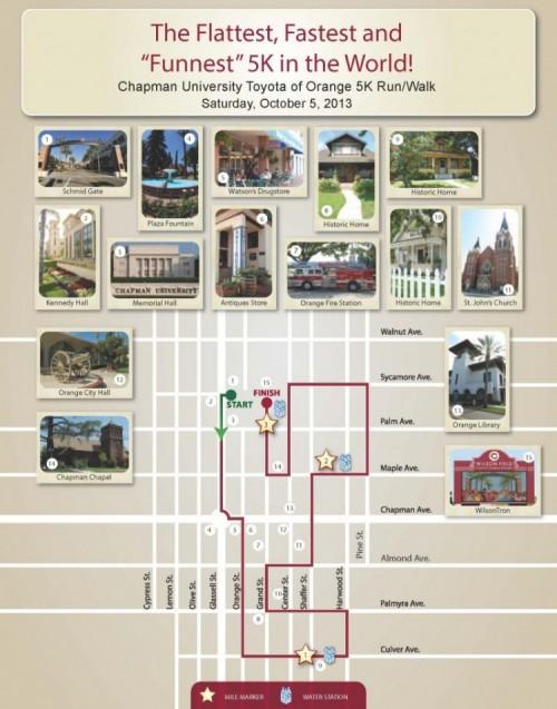 Chapman University 5K Map 2013