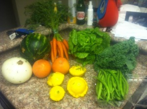 fruits and vegetables on a kitchen counter
