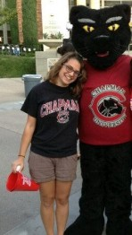 Chiara poses with Pete the Panther!