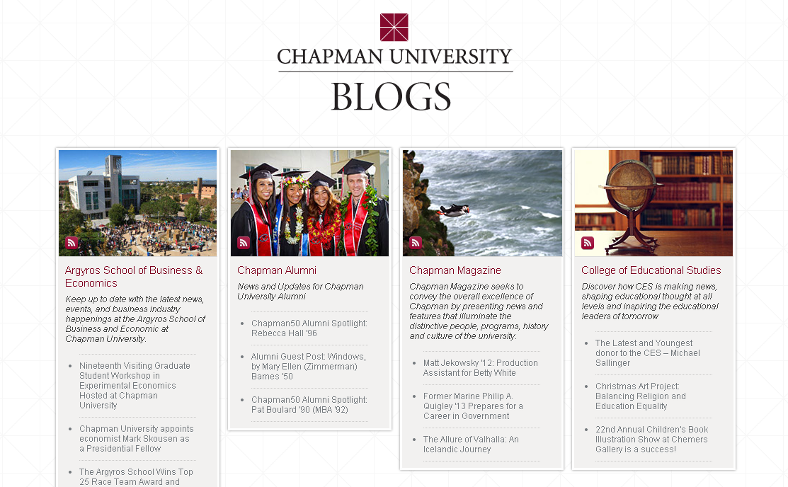 Screen shot of the Chapman University blogroll