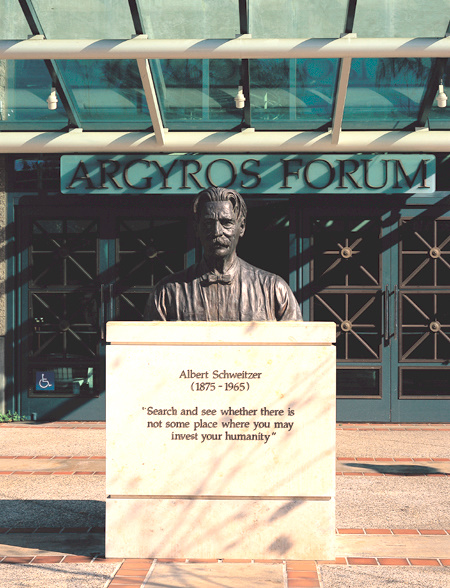 Bust of Albert Schweitzer in front of Argyros Forum