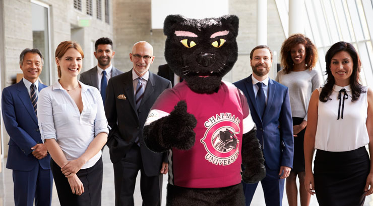 Pete the Panther with business persons