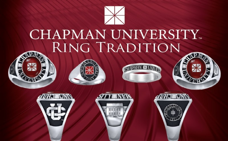Chapman University Ring Tradition poster, a variety of different class rings