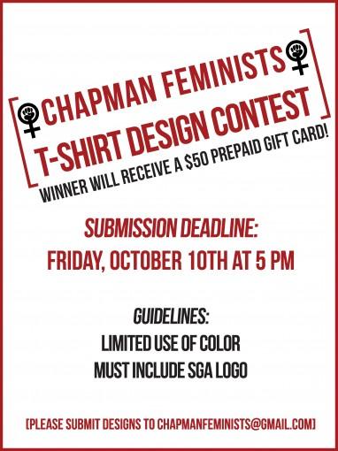 Chapman Feminists T-Shirt Design Contest poster