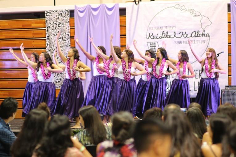 Hula dancers performing at the Luau