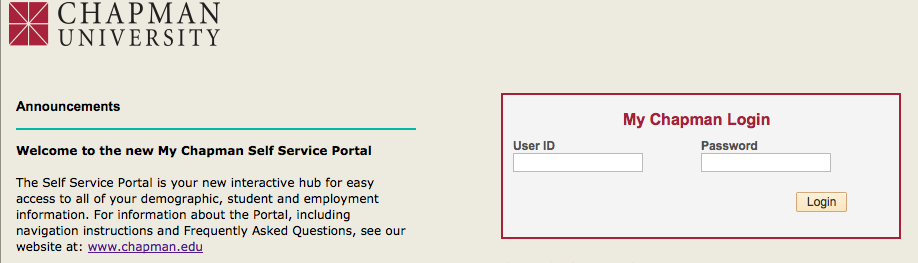 picture of a login page for chapman university with two boxes that say userid and password