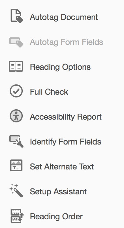 Tools for accessibility in Adobe