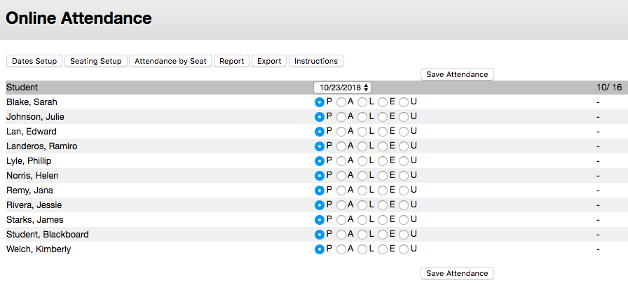 Screenshot of Old Attendance tool