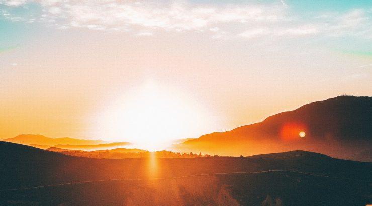 sunrise over a hillside