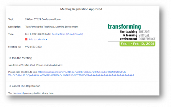 Screenshot of Zoom registration screen