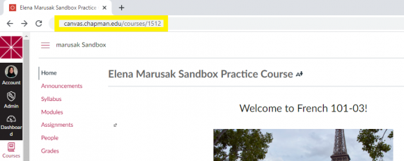 The URL of a Canvas course