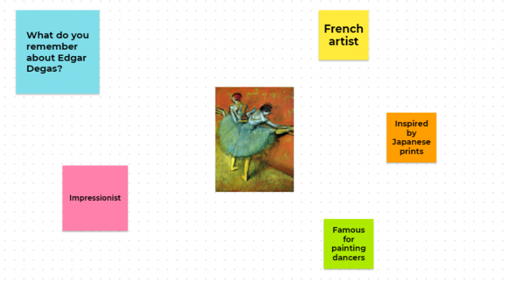 Screen shot of a review activity in Google Jamboard